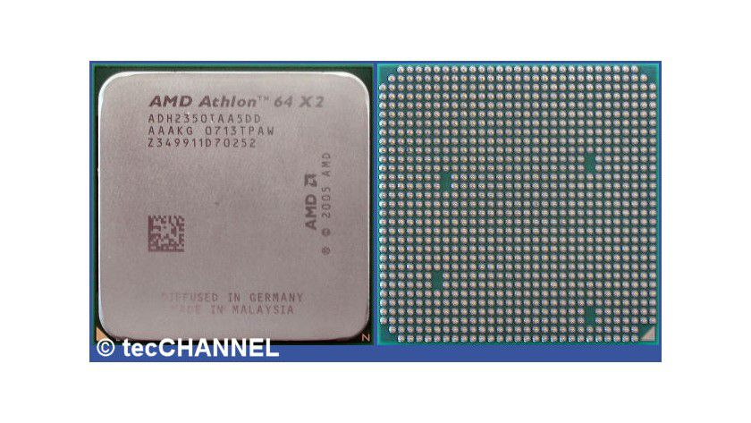Athlon X2 BE-2350: AMDs Dual-Core-CPU für den Socket AM2 arbeitet mit 2,1 GHz Taktfrequenz. Jeder Kern besitzt einen 512 KByte großen L2-Cache. Das 65-nm-Modell begnügt sich mit 45 Watt TDP.