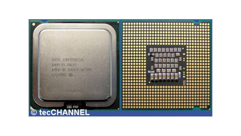 Core 2 Duo E6750: Der Dual-Core-Prozessor arbeitet mit 2,66 GHz Taktfrequenz und einem FSB1333. Beiden Kernen steht der gemeinsame 4 MByte große L2-Cache zur Verfügung.
