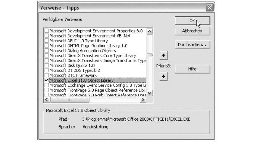 Bild 1: Verweis auf Excel-Objektbibliothek erstellen.