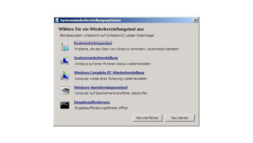 Versteckt: Die Systemwiederherstellungsoptionen können über die Reparaturfunktionen auch bei der Neuinstallation von Windows Vista aufgerufen werden. Dort findet sich auch die Eingabeaufforderung.