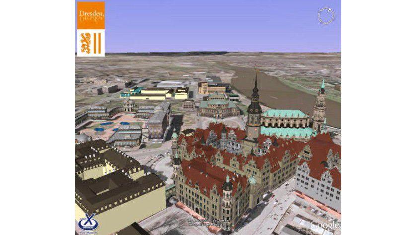 Dresdner Schloss: Dresden in 3D auf Google Earth. (Quelle: dresden.de)
