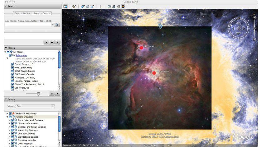 Der Griff nach den Sternen: Mit Google Sky können Sie den Kosmos betrachten.