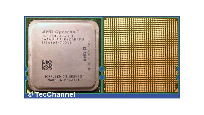 """K10-Opteron 8350 """"Barcelona"""" 2,0 GHz: Der Quad-Core-Prozessor arbeitet im Socket F. Pro Core besitzt die CPU einen 512 KByte großen L2-Cache. Allen Kernen steht ein gemeinsamer 2 MByte L3-Cache zur Verfügung. Der integrierte Speicher-Controller steuert gepufferte DDR2-667-DIMMs an."""