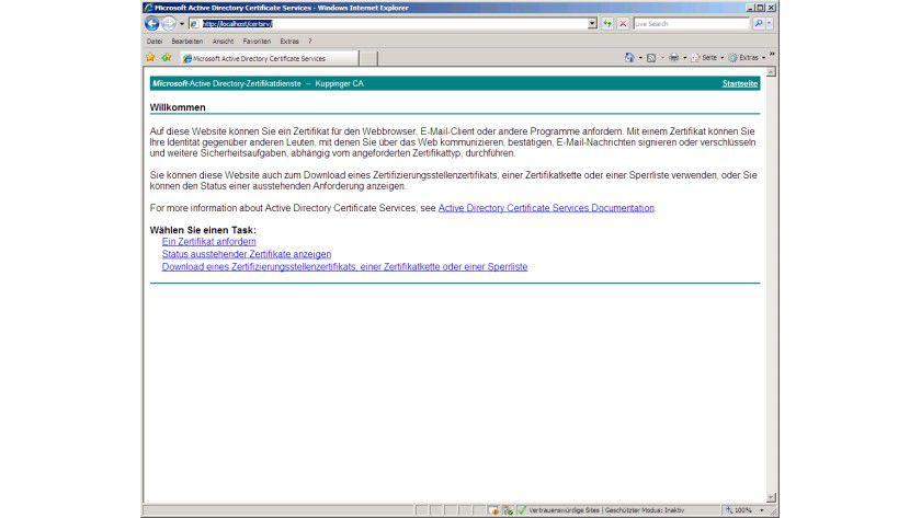 Die Web-Schnittstelle - So verwalten Sie Zertifikate mit Active ...