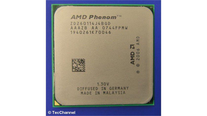 AMD Phenom 9900: Der 65-nm-Quad-Core-Prozessor für den Sockel AM2+ arbeitet mit 2,6 GHz Taktfrequenz. Alle vier Kerne sind auf einem Siliziumplättchen vereint.