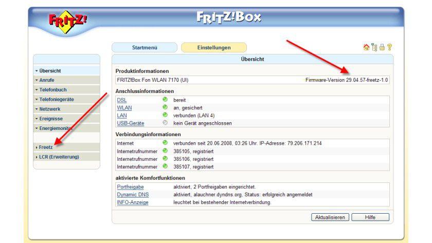 Unscheinbar: Bis auf die rot markierten Bereiche unterscheidet sich das Interface der Freetz-Firmware nicht vom Original.