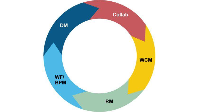 Die Manage-Komponenten: Dokumentenmanagement (DM), Collaboration (Collab), Web Content Management (WCM), Records Management (RM) und Workflow (WF) / Business Process Management (BPM). (Quelle: AIIM)