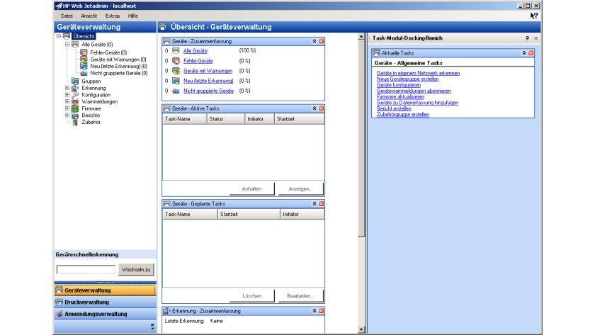 HP Web Jetadmin: HP Web Jetadmin: Die zentrale Oberfläche des Druckermanagement-Tools.
