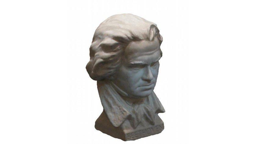 Beethoven in 3D: Der Kopf wurde aus 33 Fotos dreidimensional rekonstruiert. Am Computer ließe sich die Statue nun problemlos in alle Raumrichtungen drehen oder auch von einer virtuellen Kamera umkreisen. Foto: Kalin Kolev, AG Cremers