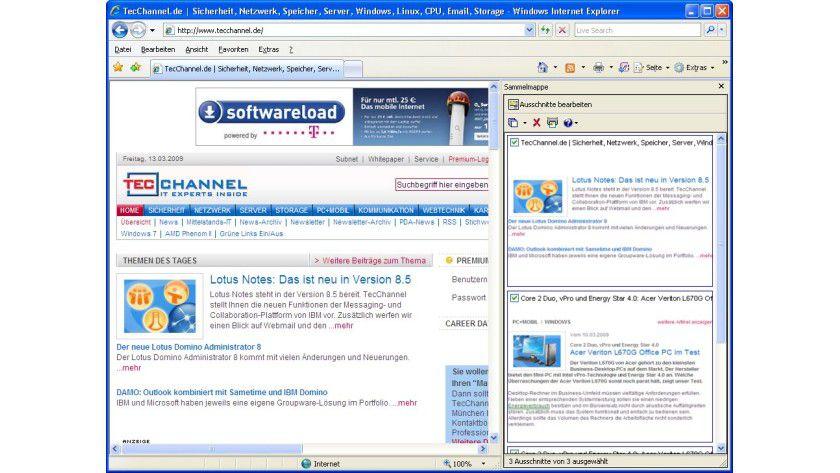 HP Smart Web Printing: Mit Hilfe des Tools lassen sich Webinhalte für das Drucken auswählen und in einer Sammelmappe ablegen.