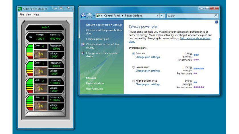 AMD Power Monitor: Das Tool zeigt die aktuelle Taktfrequenz und Core-Spannung aller Kerne von AMD-Prozessoren an.