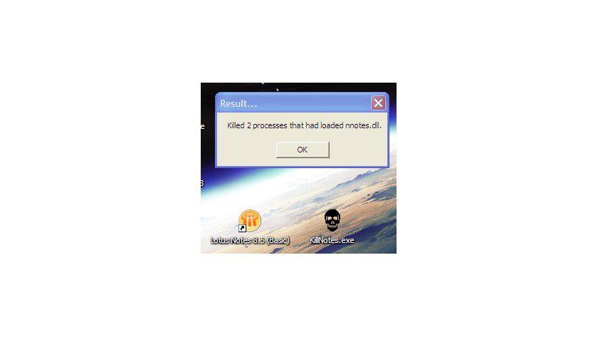 Abschuss: Nach dem Crash beseitigt Killnotes.exe die noch verbliebenen Reste.