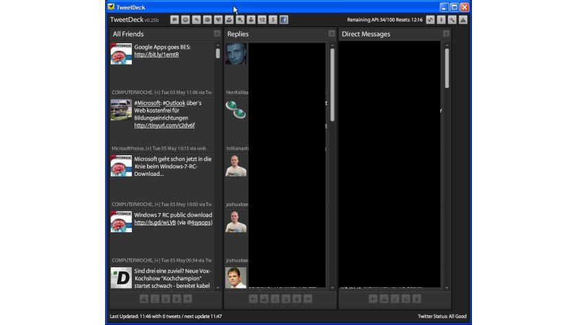 Informativ: TweetDeck stellt alle Nachrichten von Twitter und Status-Updates von Facebook übersichtlich dar.
