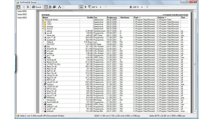 DirPrintOK: Das Programm erlaubt den übersichtlichen Ausdruck von Verzeichnisinhalten inklusive detaillierter Dateiinformationen.