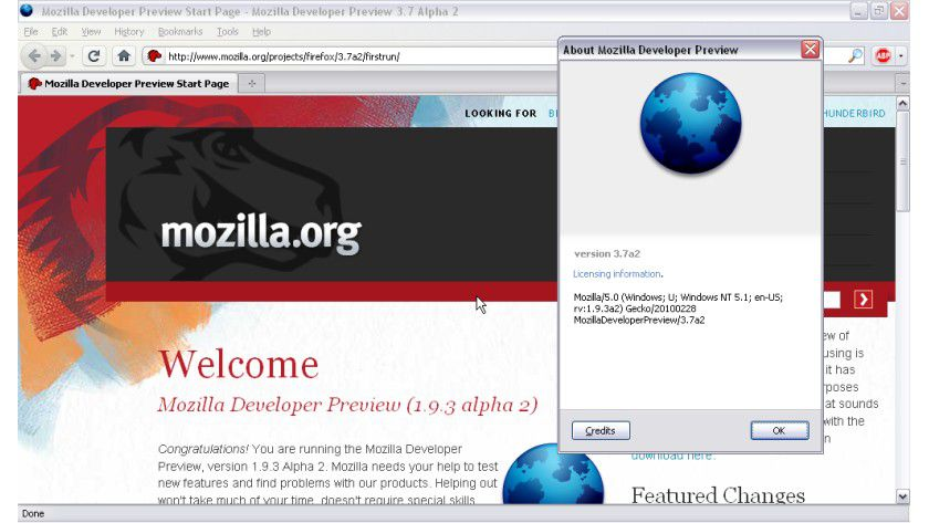 Firefox 3.7 Alpha 2: Gecko 1.9.3 kommt mit neuen Funktionen, eigent sich derzeit aber nur für Entwickler.