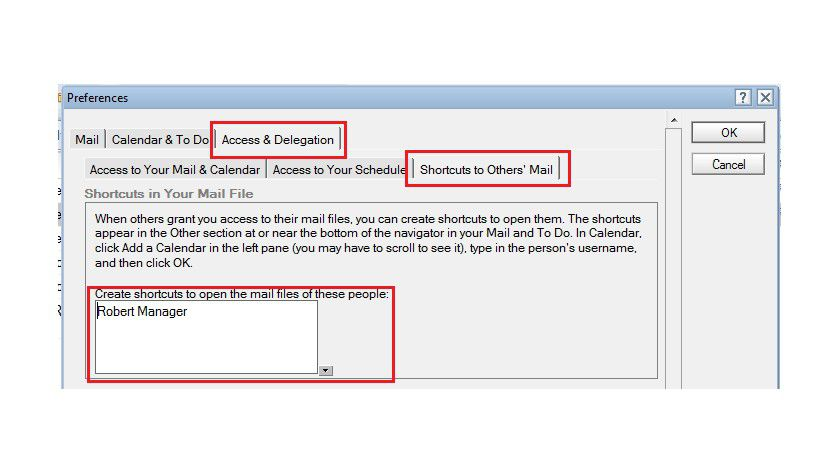 Erstellen einer Verknüpfung zu einem anderen Mailfile