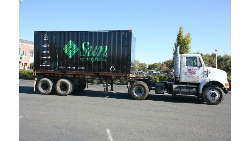 Suns Blackbox als Baustein eines virtualisierten RZ steckt in einem Standard-Container.