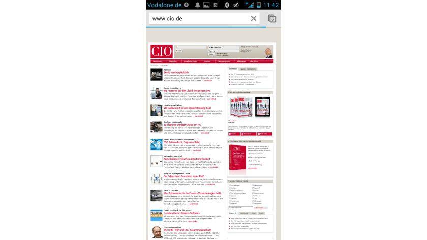 Google Chrome: Hier sehen Sie CIO.de auf dem mobilen Browser.