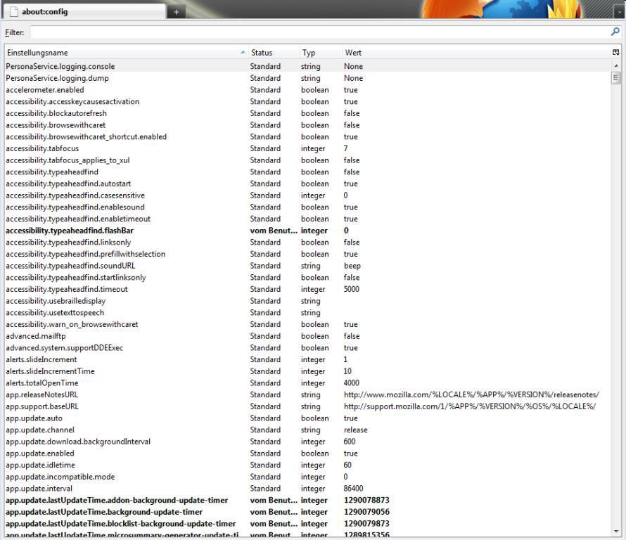 Vorsicht: Der Befehl about:config führt Sie zu einer Konfigurationsseite, auf der auch kritische Browsereinstellungen verändert werden können.