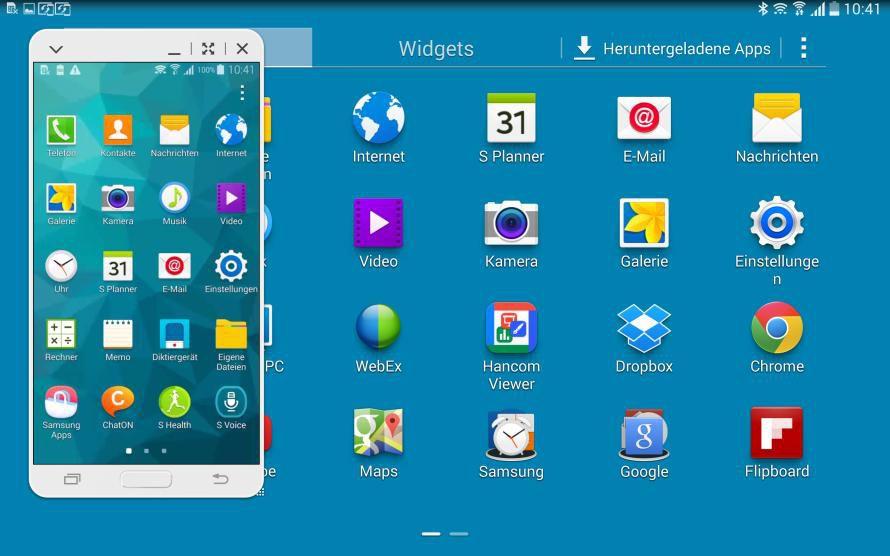 handy display auf dem tablet bildschirm mit sidesync 3 0 l sst sich das smartphone fernsteuern. Black Bedroom Furniture Sets. Home Design Ideas