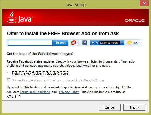 Auch bei der Java-Installation kann einem schon einmal die Ask Toolbar über den Weg laufen.